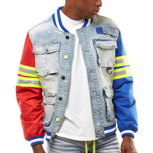 Men's Denim Utility Varsity Jacket - Blue/Red - Simons Sportswear