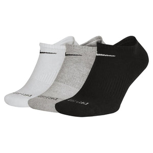 Mens Nike 3 Pack Cotton Cushion No Show Ankle Socks In Black White Grey