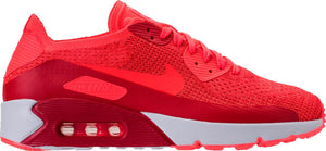 Mens Nike Air Max 90 Ultra 2 Flyknit Running Shoe In Bright Crimson