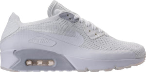 Mens Nike Air Max 90 Ultra 2 Flyknit Running Shoe In White Pure Platinum - Simons Sportswear
