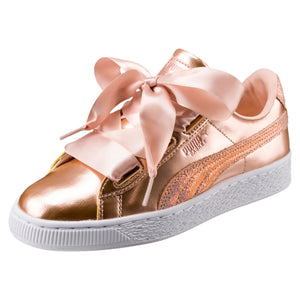Big Kids Puma Basket Heart Lunar Lux Sneaker In Cream Tan - Simons Sportswear