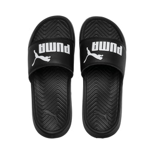 Big Kids Puma Popcat Jr Slide Flip Flops Sandals In Black White - Simons Sportswear