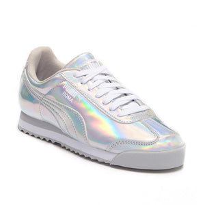 Big Kids Puma Roma Iridescent Jr Metallic Sneaker In Metallic Silver