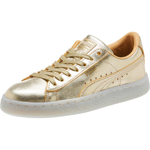 Big Kids Puma Suede Classic Jr 50th Anniversary Sneaker In Gold