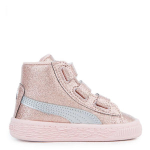 Infant Kids Puma Basket Mid Strap Glitz V Sneaker In Peach