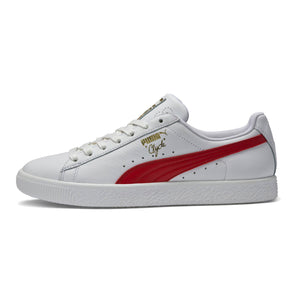 Mens Puma Clyde Core Foil Sneaker In White Barbados Cherry Team Gold