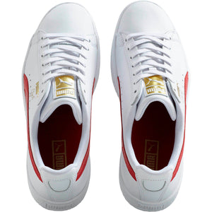 Mens Puma Clyde Core Foil Sneaker In White Barbados Cherry Team Gold - Simons Sportswear
