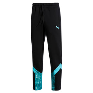 Mens Puma Mcs Pool Track Pants In Black Aqua Pool Print