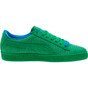 Mens Puma Suede Classic Archive All Over Sneaker In Kelly Green Team Gold - Simons Sportswear