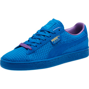 Mens Puma Suede Classic Archive All Over Sneaker In Puma Royal Gold - Simons Sportswear