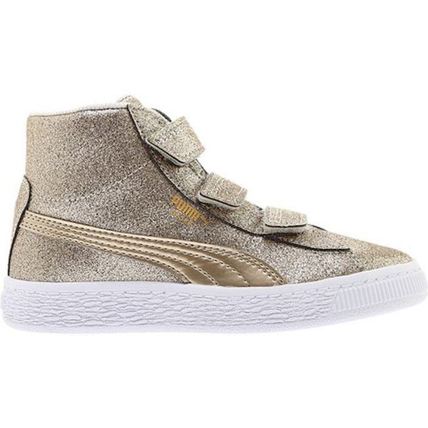 Preschool Kids Puma Basket Mid Strap Glitz V Shoe In Birch Team Gold ... 2362e2538