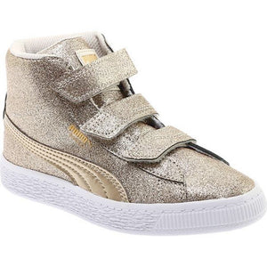 Preschool Kids Puma Basket Mid Strap Glitz V Shoe In Birch Team Gold