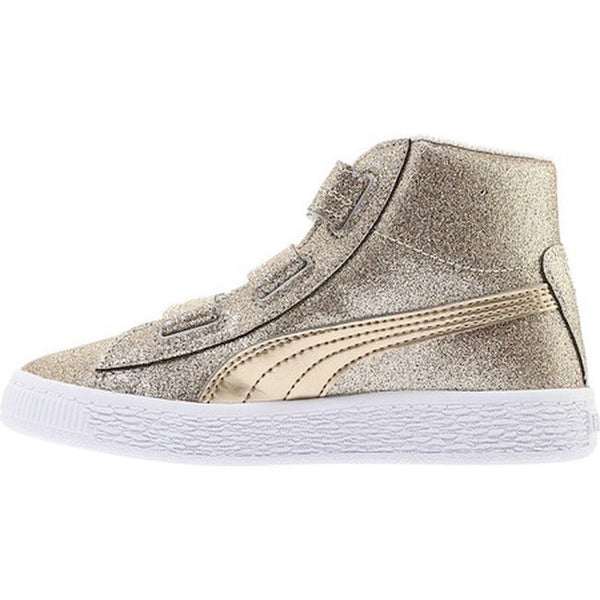 Preschool Kids Puma Basket Mid Strap Glitz V Shoe In Birch Team Gold -  Simons Sportswear 329ad1583