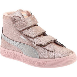 Preschool Kids Puma Basket Mid Strap Glitz V Shoe In Peach