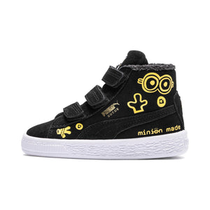 Preschool Kids Puma Minions Suede Mid Fur V Sneaker In Black White Minion Yellow