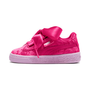 Toddler Kids Puma Basket Heart Velour Sneaker In Beetroot Purple - Simons Sportswear