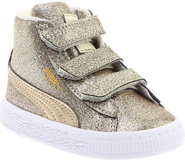 Toddler Kids Puma Basket Mid Strap Glitz V Sneaker In Birch Team Gold c72019b2a