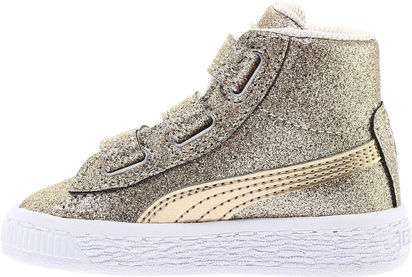 Toddler Kids Puma Basket Mid Strap Glitz V Sneaker In Birch Team Gold -  Simons Sportswear d4ad019cc