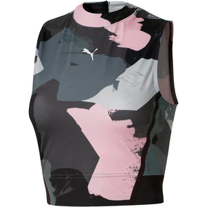 Womens Puma Chase All Over Crop Top Shirt In Grey Pink - Simons Sportswear