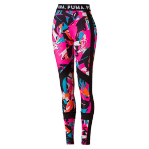 Womens Puma Chase All Over Print Tights Leggings In Retro Pink - Simons Sportswear