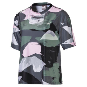 Womens Puma Chase Tee All Over Shirt In Grey Pink - Simons Sportswear