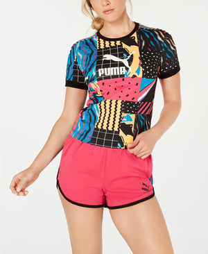 9f37e733a56baf Quick View · Womens Puma Clash All Over Print Tee Shirt In Cotton Black Aop  Multi ...