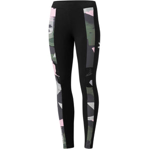 Womens Puma Classic T7 All Over Print Tights Leggings In Black Pink Green - Simons Sportswear