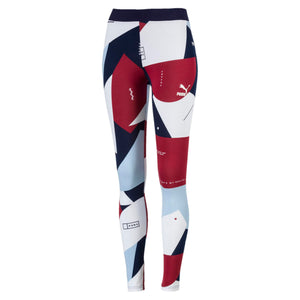 Womens Puma Classics All Over Print Tights Leggings In White Camo Micro