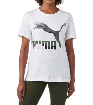 Womens Puma Classics Logo Tee Shirt In White Pink Iron Gate