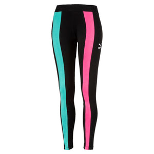 Womens Puma Classics T7 Tights Leggings In Cotton Black Chase Pink - Simons Sportswear