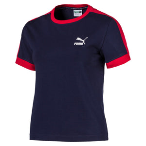 Womens Puma Classics T7 Logo Tight Tee Shirt In Navy Red
