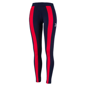Womens Puma Classics T7 Tights Leggings In Peacoat Navy Red