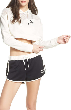 Womens Puma Flourish Xtg Crop Sweatshirt Hoodie In Whisper White