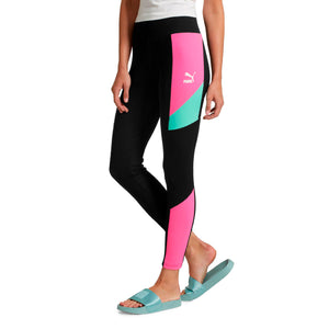 Womens Puma Retro Rib Tights Leggings In Black Knockout Pink - Simons Sportswear