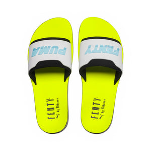 Womens Puma Rihanna Fenty Surf Slide Flip Flop Sandals In Black White Safety Yellow - Simons Sportswear