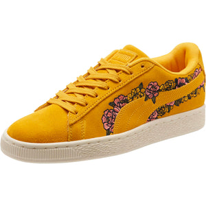 Womens Puma Suede Embroidered Floral Sneaker In Gold Fusion - Simons Sportswear