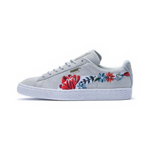 Quick View · Womens Puma Suede Hyper Embellished Sneaker In Glacier Grey  White Floral ... ec96fe4ed
