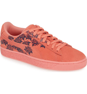 Womens Puma Suede Tol Graphic Sneaker In Shell Pink - Simons Sportswear