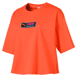 Womens Puma Trailblazer Retro Cropped Tee Shirt In Orange