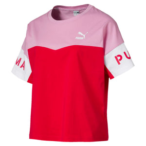 Womens Puma Xtg Color Block Tee Shirt In Hibiscus - Simons Sportswear