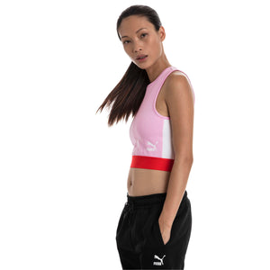 Womens Puma Xtg Cropped Top Tee Shirt In Pale Pink