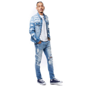 Men's Rip and Repair Jeans in Ocean Blue - Simons Sportswear