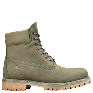 Mens Timberland 6-Inch Premium Waterproof Boots Timbs In Dark Green Nubuck