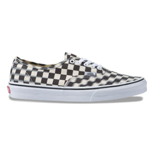 Big Kids Vans Blur Check Authentic Skate Shoe In Black Classic White - Simons Sportswear