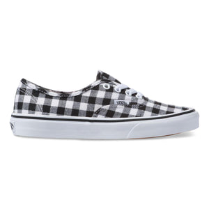 Big Kids Vans Gingham Authentic Skate Shoe In Blck White - Simons Sportswear
