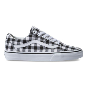 Big Kids Vans Gingham Old Skool Skate Shoe In Black True White