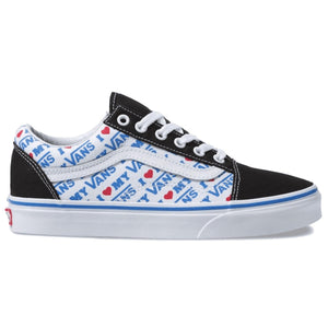 Big Kids Vans Old Skool I Love My Vans Skate Shoe In Black Blue White - Simons Sportswear