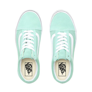 Big Kids Vans Old Skool Skate Shoe In Neptune Green True White