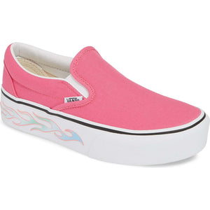 Big Kids Vans Sidewall Flame Slip-On Platform Skate Shoe In Carmine Rose - Simons Sportswear