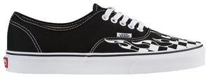 Mens Vans Authentic Checker Flame Skate Shoe In Black True White - Simons Sportswear